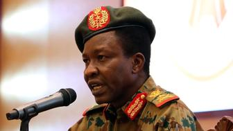 Sudan's ruling Military Council spokesperson Shamseddine Kabbashi makes a speech as he holds a press conference at the Presidential Palace in Khartoum, Sudan, Thursday, June 13, 2019. (AP Photo)