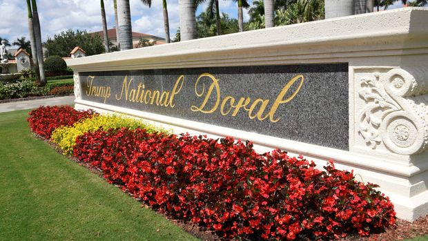 View leading into Trump National Doral in Miami, Florida on April 3, 2018. / AFP PHOTO / Michele Eve Sandberg        (Photo credit should read MICHELE EVE SANDBERG/AFP/Getty Images)