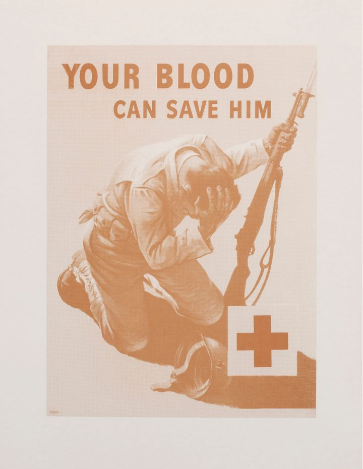 "For ""Our Blood Can Save Them,"" artist Jordan Eagles said he replicated a World War II propaganda poster&nbsp"