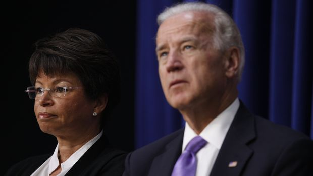 Vice President Joe Biden and senior adviser Valerie Jarrett listen at a Middle Class Task Force event on solutions for families balancing the dual demands of work and caring for family in the Eisenhower Executive Office Building across from the White House in Washington, Tuesday, July 20, 2010. (AP Photo/Charles Dharapak)
