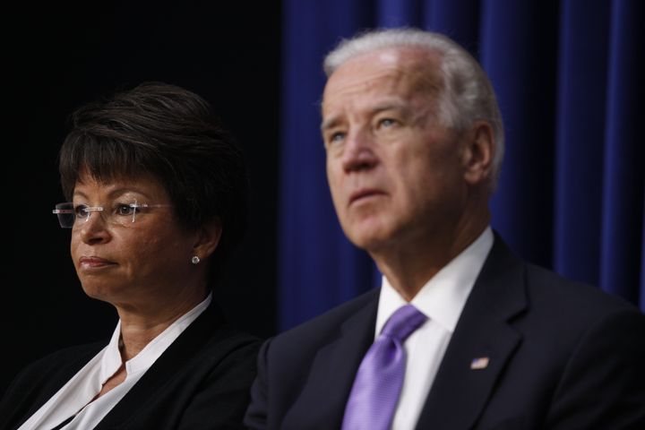 Vice President Joe Biden and senior adviser Valerie Jarrett at a July 2010 event in Washington on solutions for balancing wor