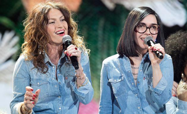 Aurélie Saada et Sylvie Hoarau du groupe Brigitte aux Victoires de la Musique à La Seine...
