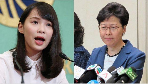周庭さん(左)と林鄭月娥(キャリー・ラム)行政長官(右)