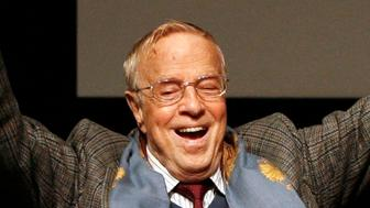 FILE - Franco Zeffirelli is shown in this Friday Oct. 16, 2009 file photo, in Rome. Italian director Franco Zeffirelli, famed for operas, films and television, has died in Rome at the age of 96. Zefffirelli's son Luciano said his father died at home at noon on Saturday. (AP Photo/Alessandra Tarantino, File)