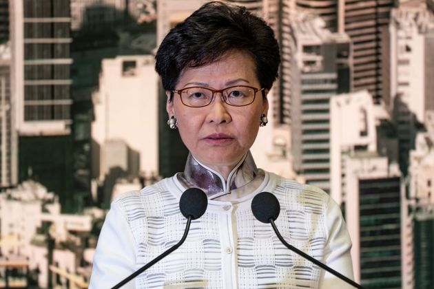 Carrie Lam, Hong Kong's chief executive, speaks during a news conference at Central Government Complex...
