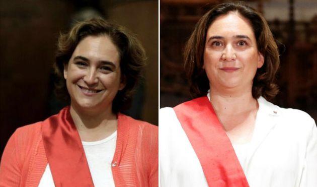 Ada Colau tras ser elegida alcaldesa en 2015 y Ada Colau tras ser elegida alcaldesa en