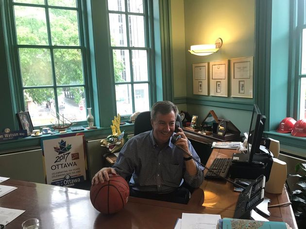 A photo posted to Jim Watson's Twitter account on Friday of him calling Toronto Mayor John Tory and congratulating...
