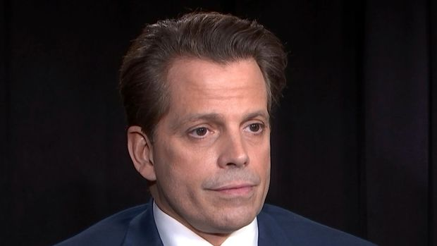 This Oct. 24, 2018 photo taken from video shows former White House communications director Anthony Scaramucci during an interview in New York. Scaramucci said he takes issue with the president's recent comments praising a congressman's violence against a reporter and is speaking out about the hate and divisiveness that he sees coming out of President Donald Trump's rallies. (AP Photo)