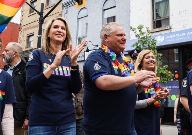 Premier Doug Ford, marching alongside MPP Caroline Mulroney at the York Region Pride parade in Newmarket,...