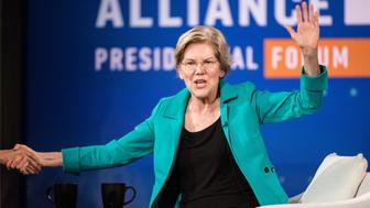 CHARLESTON, SC - JUNE 15: Democratic presidential candidate Sen. Elizabeth Warren (D-MA) participates in the Black Economic Alliance Forum at the Charleston Music Hall on June 15, 2019 in Charleston, South Carolina. The Black Economic Alliance, is a nonpartisan group founded by Black executives and business leaders, and is hosting the forum in order to help Black voters understand the candidate's platforms. (Photo by Sean Rayford/Getty Images)