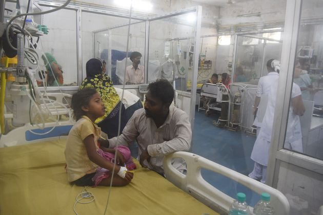 A child suffering from Acute Encephalitis Syndrome under treatment in the PICU ward of Sri Krishna Medical...