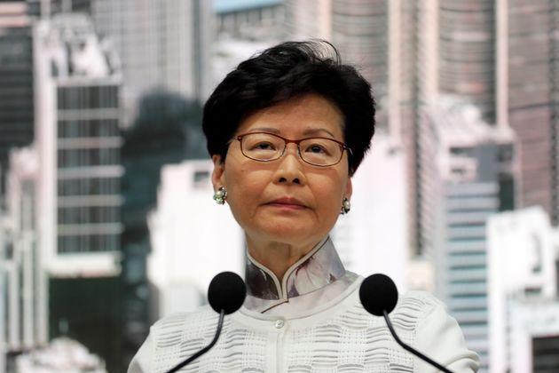 Carrie Lam lors d'une conférence de presse le 15 juin 2019, Hong