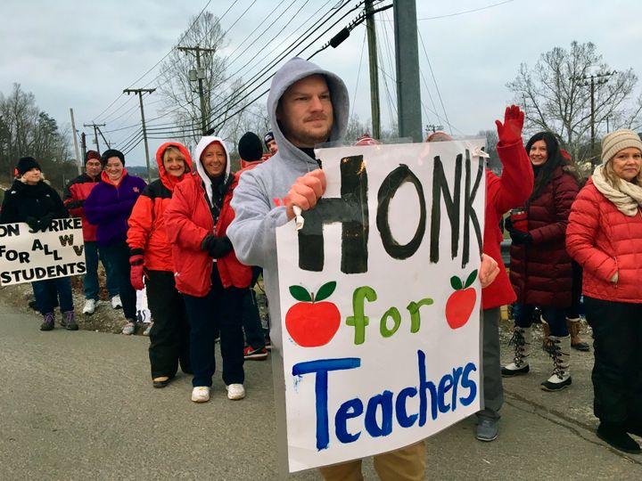 Striking teachers in West Virginia in February.