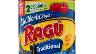 Miami, USA - June 15, 2011: RagA Traditional Sauce Jar. One of the Red Sauces sold by RagA and owned by Unilever, a family of more than 400 brands. RagA is one of the best selling brands of red pasta sauce in USA.