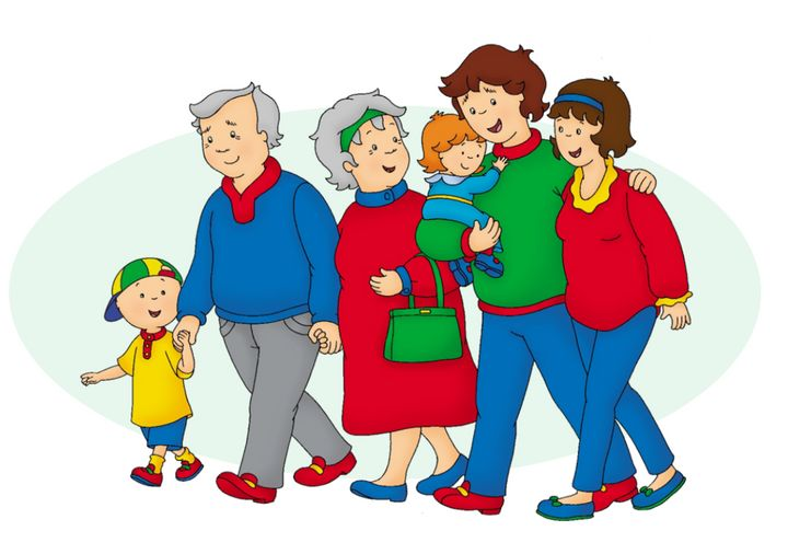 Children's character Caillou, left, with his family. He's getting a lot of attention because of his reported height online.