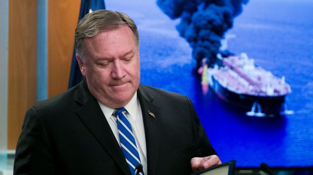Secretary of State Mike Pompeo closes his remarks as he departs after a media availability, at the State Department, Thursday, June 13, 2019, in Washington. Pompeo says Iran is believed to be responsible for attacks on 2 tankers near Persian Gulf. (AP Photo/Alex Brandon)