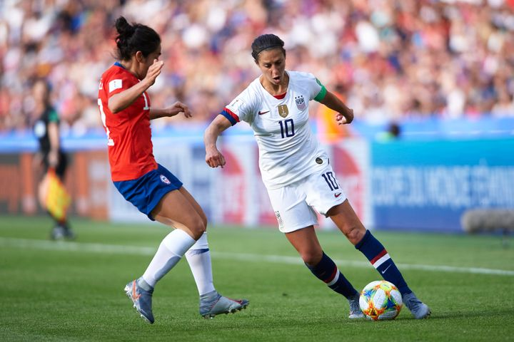 Carli Lloyd of USA in action during the 2019 FIFA Women's World Cup France group F match between USA and Chile at Parc des Pr