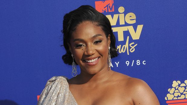 SANTA MONICA, CA - JUNE 15:  Tiffany Haddish arrives for the 2019 MTV Movie And TV Awards held at Barker Hangar on June 15, 2019 in Santa Monica, California.  (Photo by Albert L. Ortega/Getty Images)