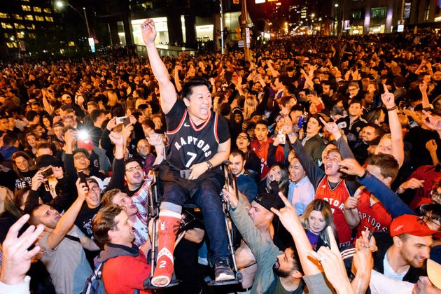 Toronto fans celebrate the win after the Toronto Raptors defeated the Golden State Warriors in Game 6...