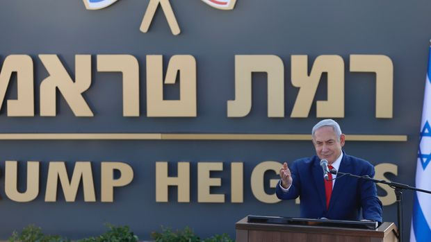 Israeli Prime Minister Benjamin Netanyahu speaks during the inauguration of a new settlement named after President Donald Trump in Golan Heights, Sunday, June 16, 2019. The Trump name graces apartment towers, hotels and golf courses. Now it is the namesake of a tiny Jewish settlement in the Israeli-controlled Golan Heights. (AP Photo/Ariel Schalit)