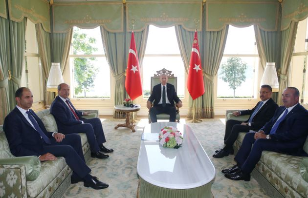 ISTANBUL, TURKEY - JUNE 03 : President of Turkey, Recep Tayyip Erdogan (C) receives Prime Minister of...