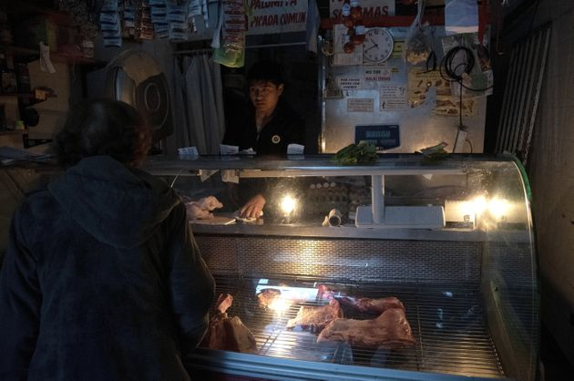 VIew of a butcher shop and greengrocery during the massive energy blackout on 16 June 2019 in Buenos...