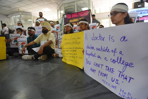Doctors during a sit-in protest at AIIMS Hospital, on 14 June 2019 in New