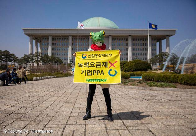 그린피스 활동가가 국회의사당에서 기업 전력구매계약(PPA) 제도 도입을 촉구하고