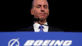 "FILE - In this Monday, April 29, 2019 file photo, Boeing Chief Executive Dennis Muilenburg speaks during a news conference after the company's annual shareholders meeting at the Field Museum in Chicago. Boeing's CEO says the company made a ""mistake"" in handling a problematic cockpit warning system in 737 Max jets ahead of two deadly crashes of the top-selling plane. Chief Executive Dennis Muilenburg told reporters in Paris on Sunday, June 16 that the company's communication ""was not consistent,"" calling that ""unacceptable.""(AP Photo/Jim Young, file)"