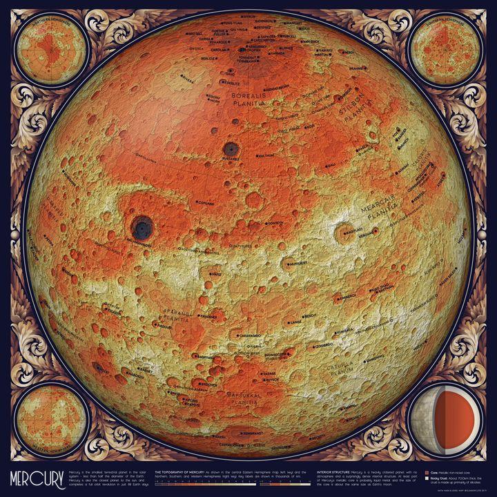 Topographie de Mercure.La formation de Mercure a été suivie par un bombardement massif d'astéroïdes et de comètes, laissant une multitude de cratères.