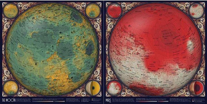 Topographies de la Lune (à gauche) et de Mars (à droite).