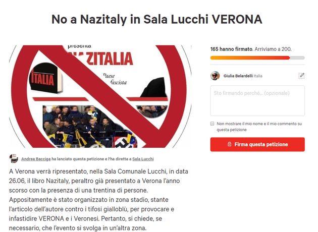 Verona litiga su NazItalia. Consigliere Bacciga lancia petiz