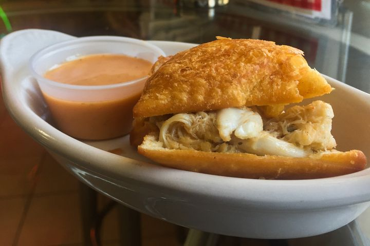 A crabmeat beignet from Loretta's Authentic Pralines in New Orleans