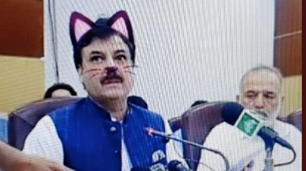 Shaukat Yousafzai does press conference with accidental cat filter