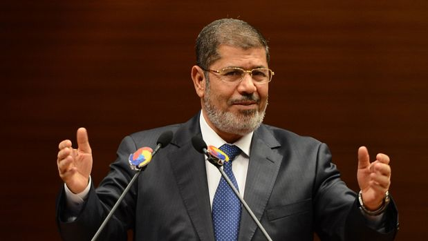 ANKARA, TURKEY - (ARCHIVE) : A file photo dated October 01, 2012 shows Ousted Egyptian President Mohamed Morsi speaking at Turkey-Egypt Business Forum, at Turkish Union of Chambers and Commodity Exchanges (TOBB) in Ankara, Turkey. Ousted Egyptian President Mohamed Morsi dies during court session.    (Photo by Dilek Mermer/Anadolu Agency/Getty Images)