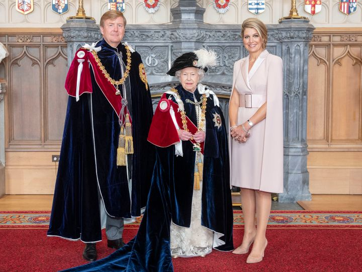 The Queen poses with the Netherlands' King Willem-Alexander and Queen Maxima in Windsor on June 17 after the king was investe