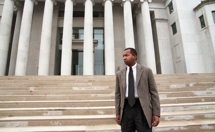Bryan Stevenson stands on the steps of the Alabama Supreme Court on Dec. 9, 1997.