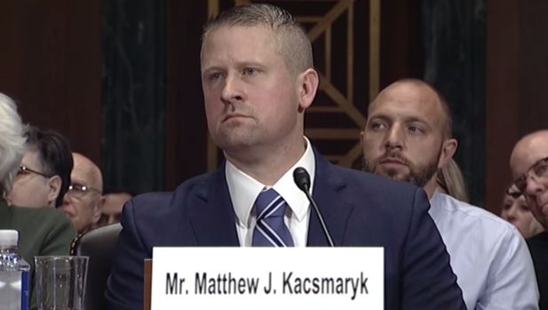 District court nominee Matthew Kacsmaryk in his Senate confirmation hearing in Dec. 2017.