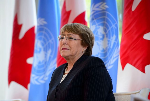 United Nations High Commissioner for Human Rights Michelle Bachelet takes part in a discussion...