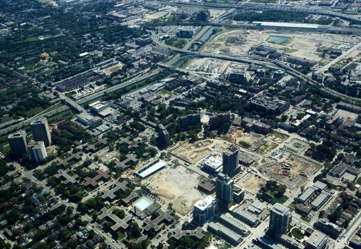 An aerial view of Toronto's Regent Park in 2011. The community's design segregated its residents from neighbouring areas.