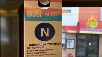 SF Transit Tearing Down Guerilla 'Transphobia Prohibited' Signs