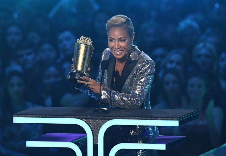Jada Pinkett Smith accepts the Trailblazer Award onstage during the 2019 MTV Movie & TV Awards.