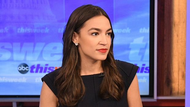 "THIS WEEK WITH GEORGE STEPHANOPOULOS - Chief White House Correspondent Jonathan Karl speaks exclusively with Rep. Alexandria Ocasio-Cortez, D-N.Y., in her first Sunday morning interview since taking office on ""This Week with George Stephanopoulos,"" Sunday, June 16, 2019 on ABC.(Photo by Lorenzo Bevilaqua/Walt Disney Television via Getty Images) REP. ALEXANDRIA OCASIO-CORTEZ"