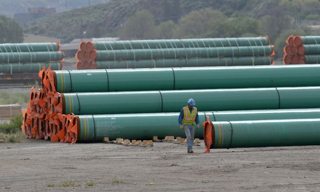 Pipes to be used for the Trans Mountain pipeline expansion project are seen here at a stockpile...