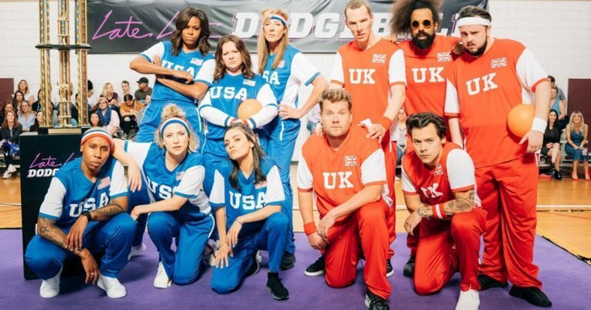 Michelle Obama Knocks Out Harry Styles As She Takes On James Corden's UK Dodgeball Team
