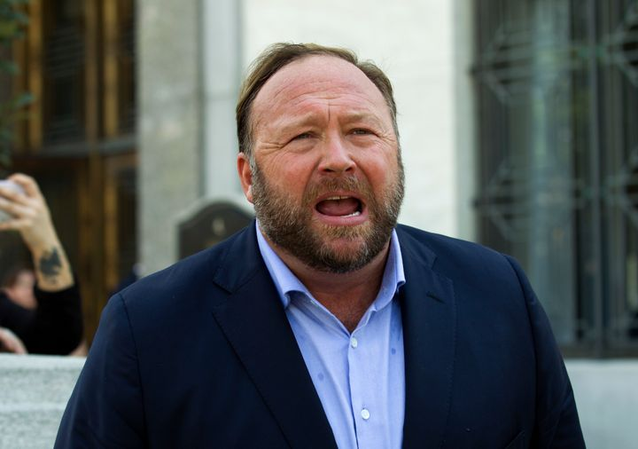In this Sept. 5, 2018 file photo, Alex Jones speaks to reporters in Washington.
