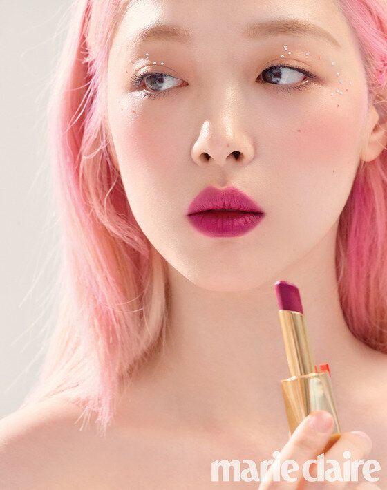 음원 발표를 앞둔 설리가 핑크색으로 염색한 채