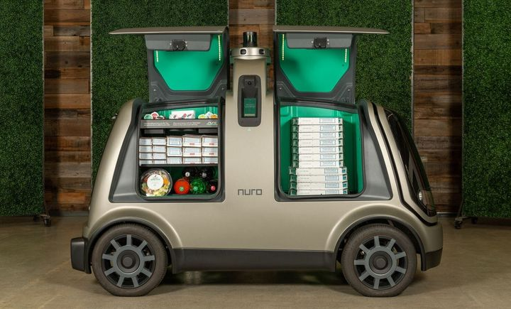 A Nuro delivery vehicle, pictured in a handout from the company.