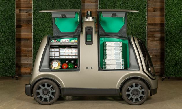 A Nuro delivery vehicle, pictured in a handout from the