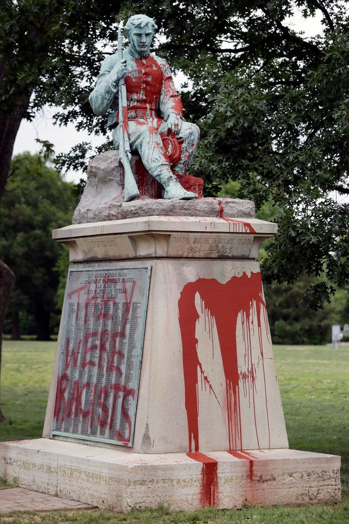 Police discovered Monday that the monument had been vandalized with red paint.